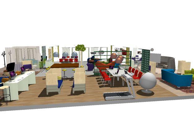 Stående arbetsstation, sittande med skyddad ljudmiljö, öppet i blandat sammanhang